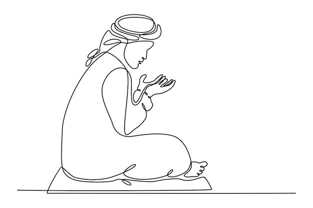 Disegno a tratteggio continuo di musulmano che fa illustrazione vettoriale di concetto di preghiera del ramadan
