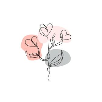 Disegno a linee continue. un fiore di linea a forma di cuore. arte lineare moderna su sfondo bianco