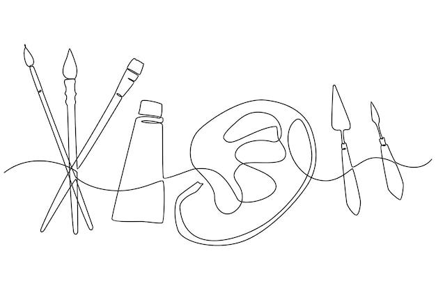 Disegno a tratteggio continuo di illustrazione vettoriale di utensili da pittura