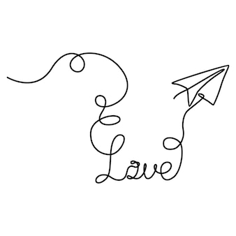 Disegno a tratteggio continuo di aeroplano di carta con illustrazione di fumo che forma illustrazione vettoriale di amore