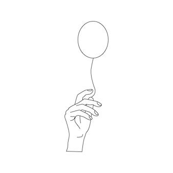 Il disegno a tratteggio continuo di una persona tiene il palloncino