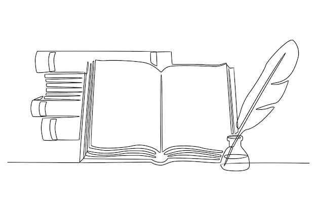 Disegno a linea continua pila di libri penna d'oca e inchiostro illustrazione vettoriale