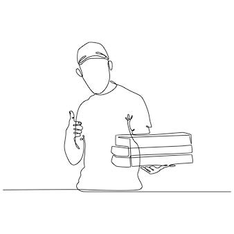Disegno a tratteggio continuo dell'illustrazione di vettore del ragazzo delle consegne della pizza
