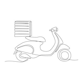 Disegno a tratteggio continuo dell'illustrazione vettoriale della motocicletta per la consegna della pizza