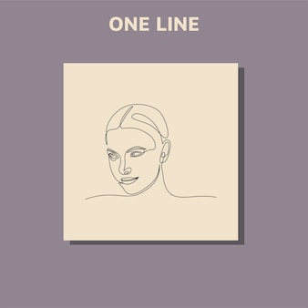 Disegno di linea continuo del volto di ritratto di una bella donna