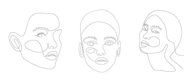 Disegno di linea continuo di volti di ritratto di una bella donna con forme astratte.