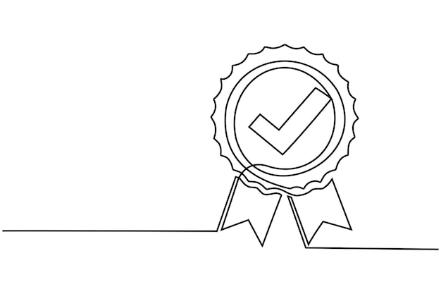 Disegno a linea continua distintivo del premio garanzia di qualità scelta premium buon prodotto concetto di garanzia