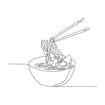 Disegno a linea continua di piatto di zuppa di noodle ramen servito con ciotola e bacchette vettore