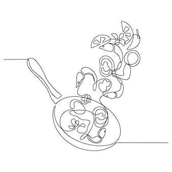 Disegno in linea continua della padella del processo di preparazione del cibo del ristorante con gamberi di mare