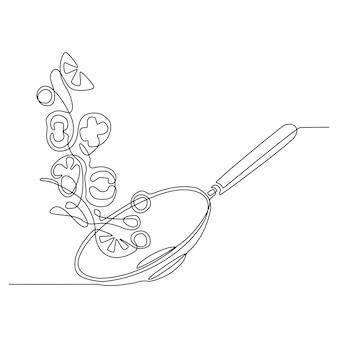 Disegno in linea continua della padella del processo di preparazione del cibo del ristorante con gamberi di mare Vettore Premium