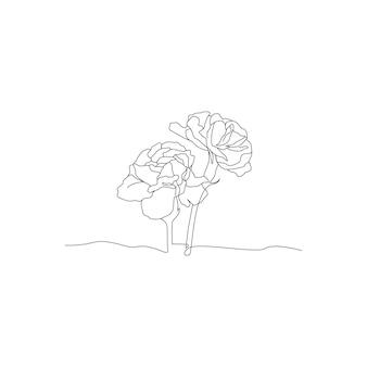 Disegno a tratteggio continuo del design minimalista del fiore della rosa isolato su priorità bassa bianca