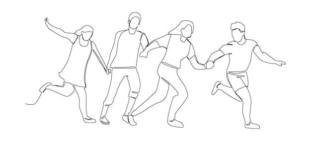 Disegno di linea continuo in esecuzione persone felici. una linea di caratteri silhouette uomo e donna. illustrazione vettoriale