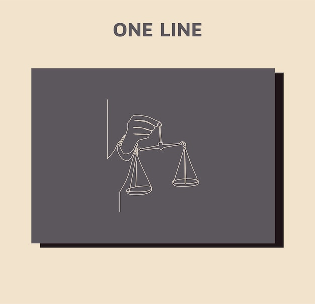 Disegno di linea continuo di scale giustizia tenere in mano giudice.