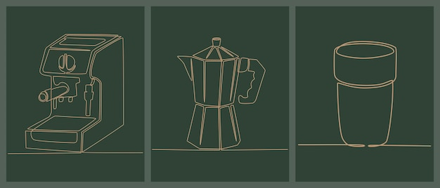 Set di disegno a tratteggio continuo di icone per la preparazione del caffè illustrazione vettoriale