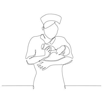 Disegno a tratteggio continuo della sorella con l'illustrazione vettoriale del bambino