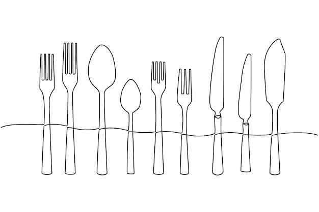 Disegno in linea continua di posate cucchiaio coltello e forchetta illustrazione vettoriale