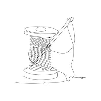 Disegno a linea continua del rocchetto di filo con illustrazione vettoriale dell'ago