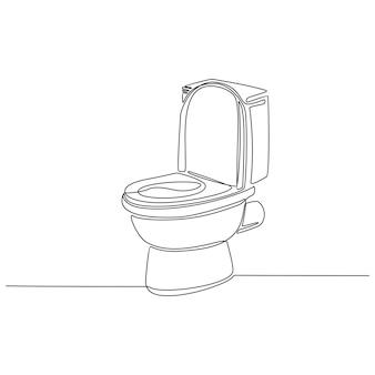 Disegno in linea continuo del vettore di design della toilette Vettore Premium