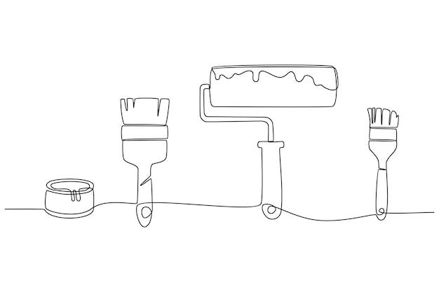 Disegno in linea continua di strumenti di verniciatura strumenti di falegnameria