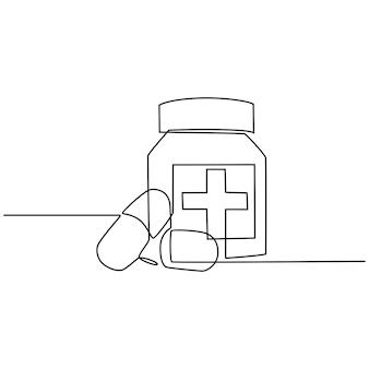 Disegno a linea continua di due capsule di pillole vicino a una bottiglia di vitamine per la salute della farmacia medica