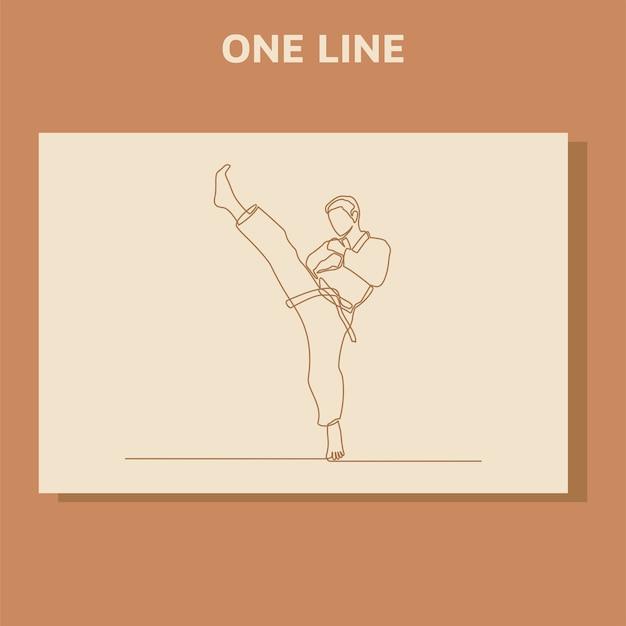 Disegno di linea continuo di due atleti di karate maschi