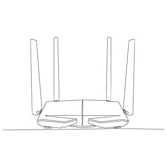Disegno in linea continuo dell'illustrazione vettoriale del router wifi