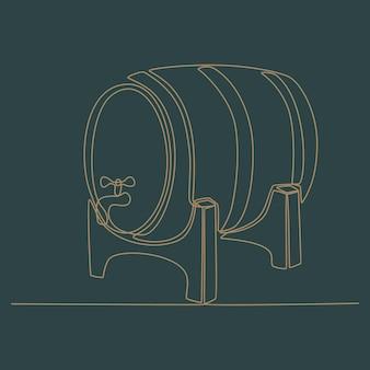 Disegno a tratteggio continuo dell'illustrazione vettoriale del negozio di vini
