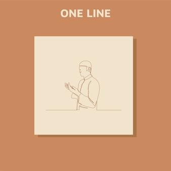 Disegno di linea continuo con un disegno di sagoma di un uomo che alza le mani in preghiera
