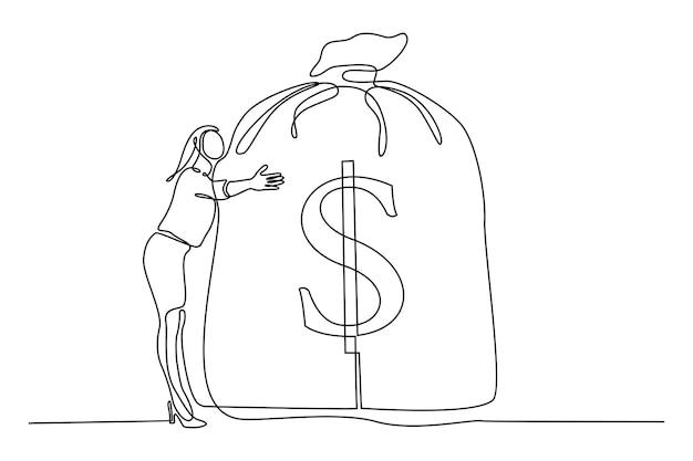 Disegno a tratteggio continuo donna che abbraccia grande borsa con banconote da un dollaro vettore