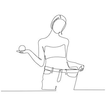 Disegno a tratteggio continuo di una donna in jeans su un'illustrazione vettoriale di dieta di successo
