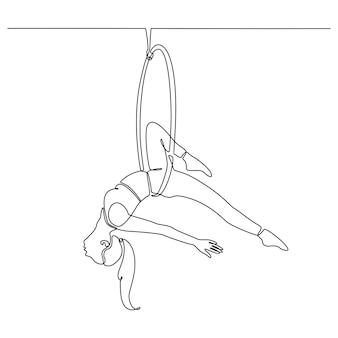 Disegno a linea continua di una donna che suona il design modificabile di forma astratta del circo dell'anello d'aria