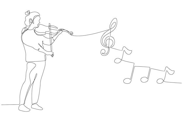 Disegno a tratteggio continuo di una donna che suona l'illustrazione vettoriale del violino
