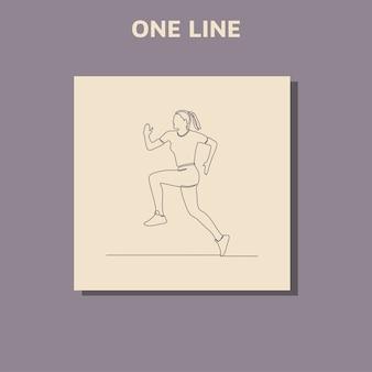 Disegno di linea continuo della donna che corre