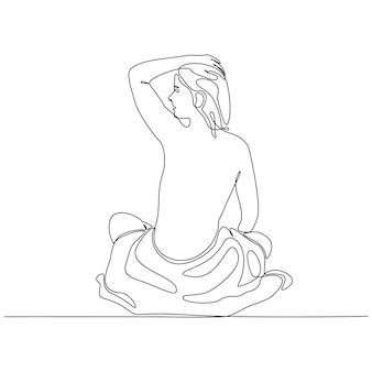 Disegno a tratteggio continuo della donna che utilizza l'illustrazione di vettore di concetto della stazione termale dell'asciugamano