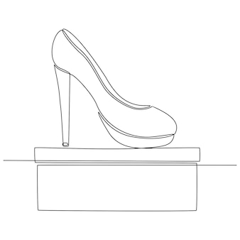 Disegno di linea continuo di illustrazione vettoriale di concetto di negozio di scarpe scarpe da donna