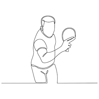 Disegno a tratteggio continuo di giovani giocatori di tennis da tavolo maschi che giocano su sfondo bianco vettore
