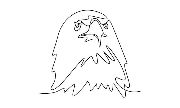Linea continua di illustrazione della testa d'aquila