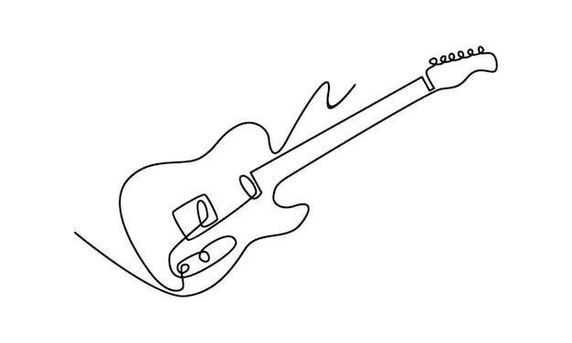 Linea continua di illustrazione di chitarra elettrica