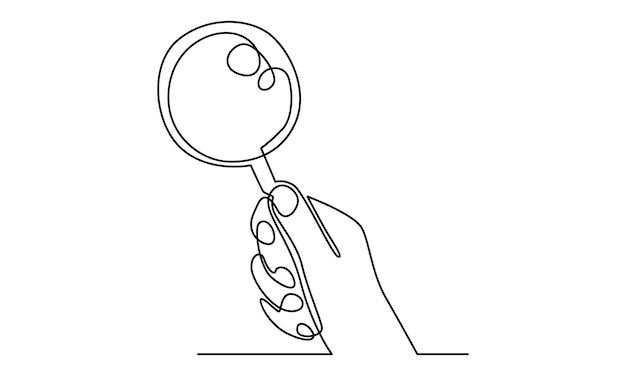 La linea continua della mano tiene un'illustrazione della lente d'ingrandimento
