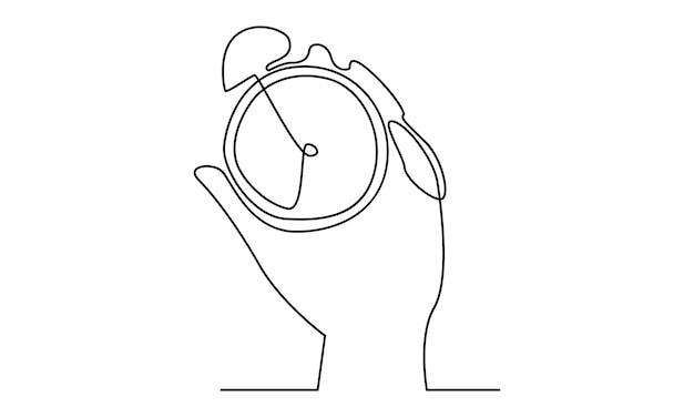 Linea continua della mano che tiene l'illustrazione dell'ora dell'orologio