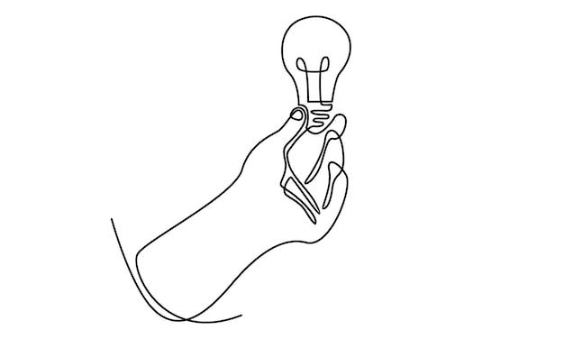 Linea continua della mano che tiene l'illustrazione della lampadina