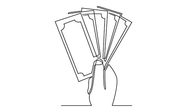 Linea continua della mano che tiene l'illustrazione delle banconote dei soldi
