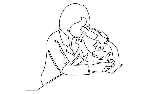 Linea continua di assistente di laboratorio che guarda attraverso l'illustrazione del microscopio