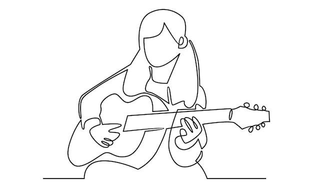 Linea continua di bambina che suona l'illustrazione della chitarra