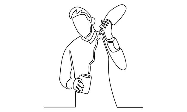 Linea continua di barista maschio che versa un'illustrazione di cocktail