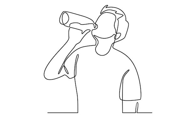 Linea continua di uomo che beve acqua da un'illustrazione di bottiglia
