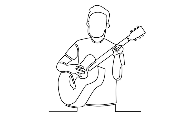 Linea continua dell'uomo che tiene l'illustrazione della chitarra acustica