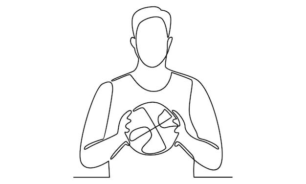 Linea continua dell'uomo che tiene un'illustrazione di pallacanestro