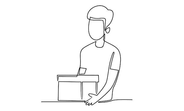 Linea continua dell'illustrazione della scatola della tenuta dell'uomo