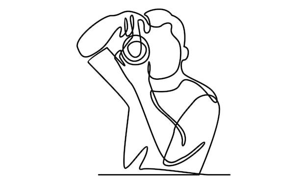 Linea continua dell'illustrazione della fotocamera dell'uomo che tiene in mano